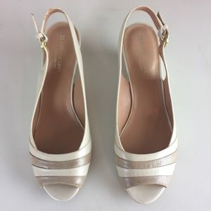 Naturalizer white taupe sling back peep to…